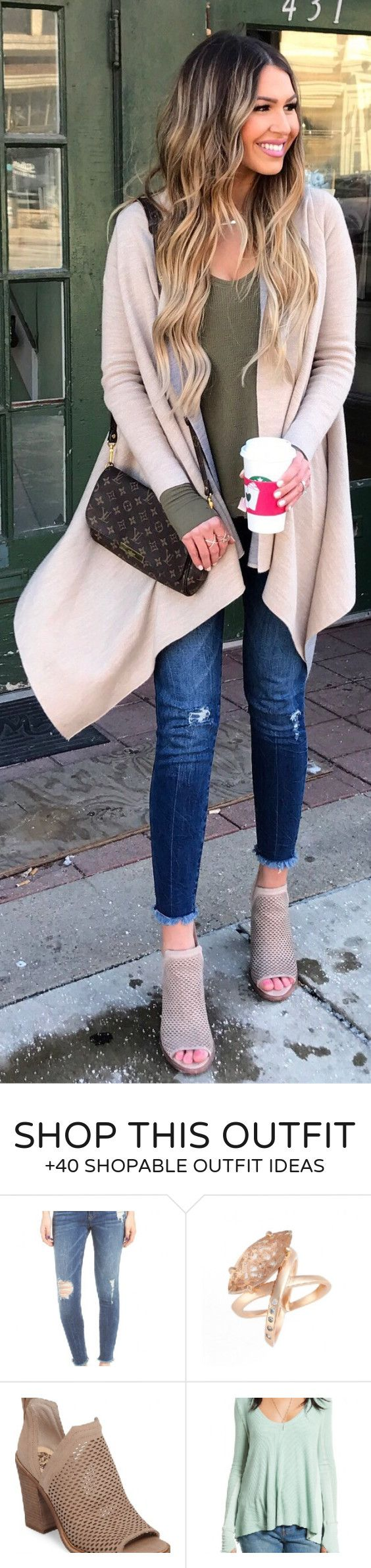 #spring #outfits /  Cream Coat / Green Top / Ripped Skinny Jeans / Grey Open Toe Booties