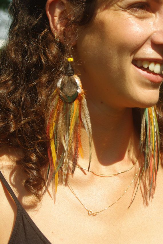 Hand made real feather earrings Pixie Hippie Gypsy by Mana528