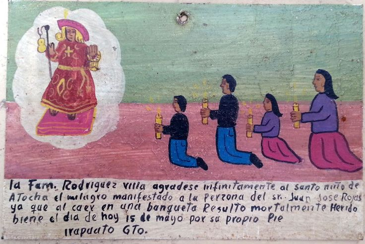 """Hand made retablo painted on tin. Dedicated to the blessed Christchild of Atocha. The origin of the word Ex Voto is Latin, and it means """"for solemn vow or promise"""". Faced with a particular problem, people would pray to a Saint or deity.   eBay!"""