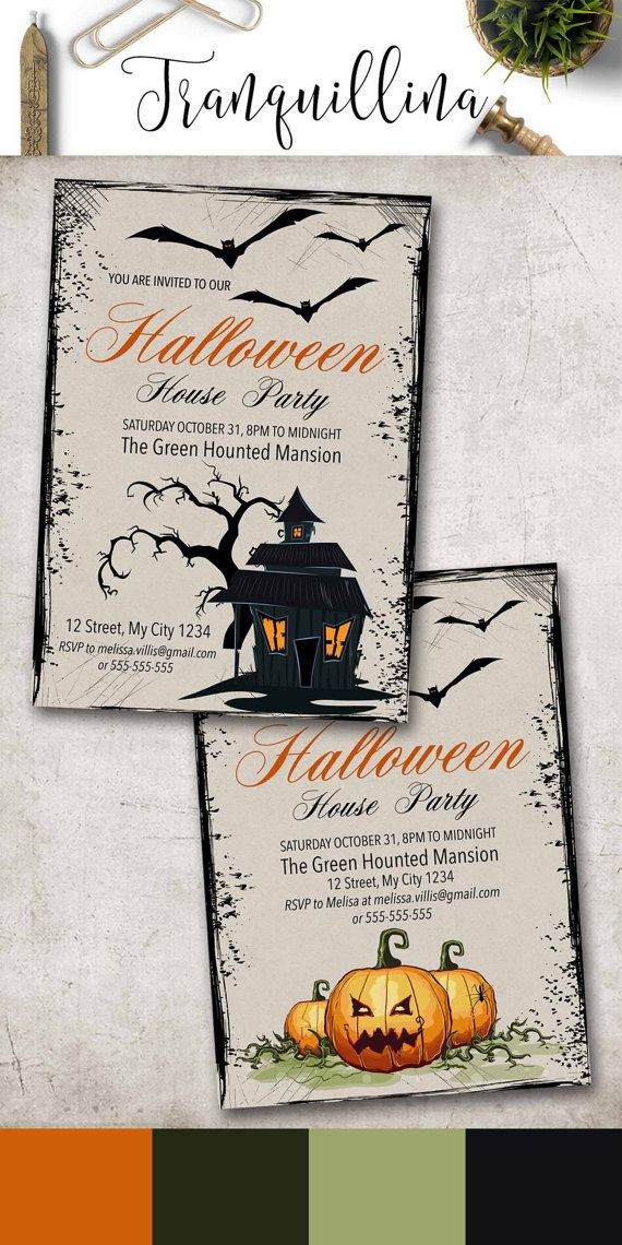 Halloween Invitation Printable, Halloween Party Invitation, Adult Halloween Invite, Kids Halloween Invitation, Digital File. tranquillina.etsy.com