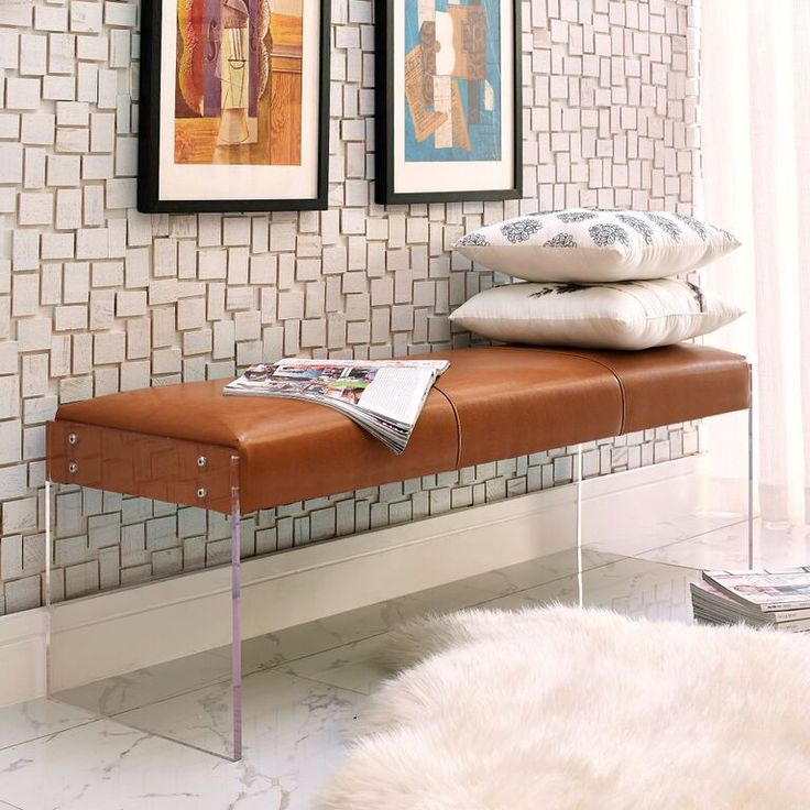 Envy Leather/Acrylic Bench The Envy Leather Bench exudes modern design and appeal.  Bench Sale For $359