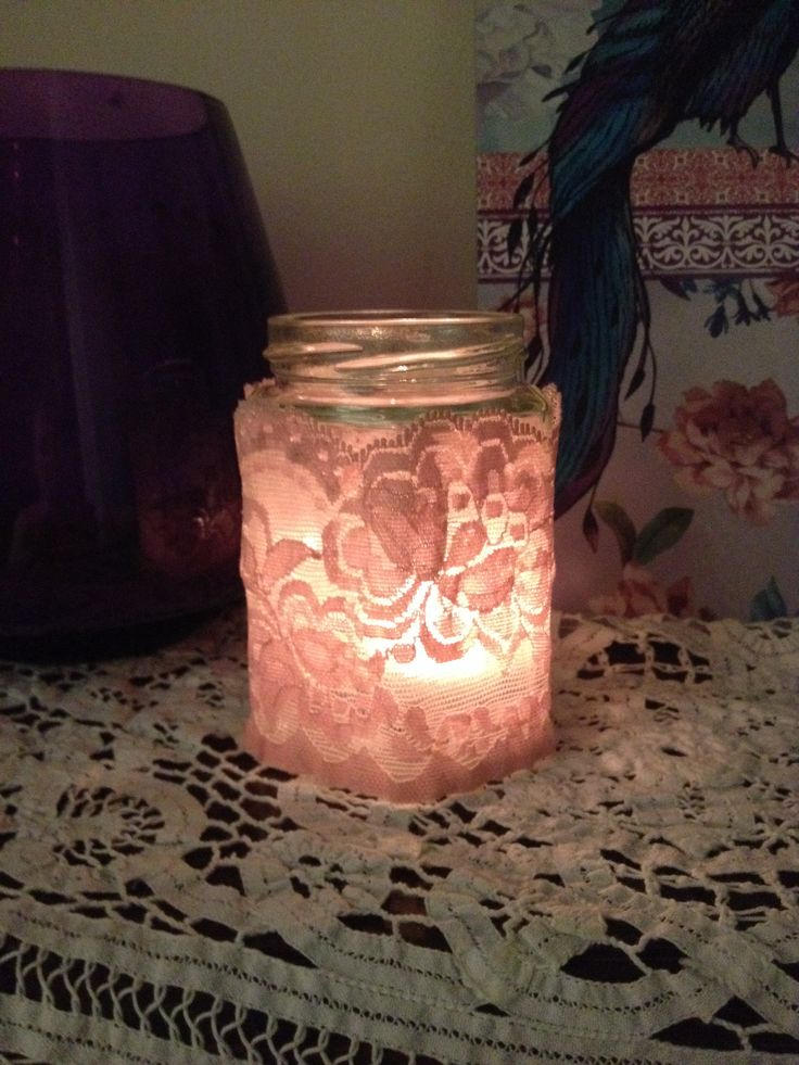 Glass jar with lace - pretty candle holder x