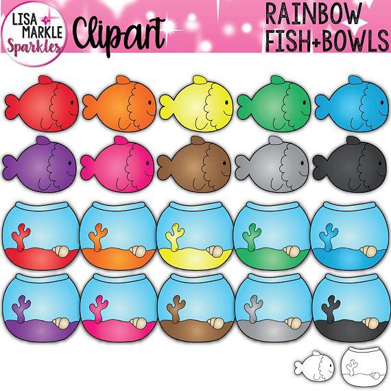 Rainbow Fish Clipart Set Clip Art Set Of Fish Cute Fish Etsy Fish Clipart Rainbow Fish Clip Art