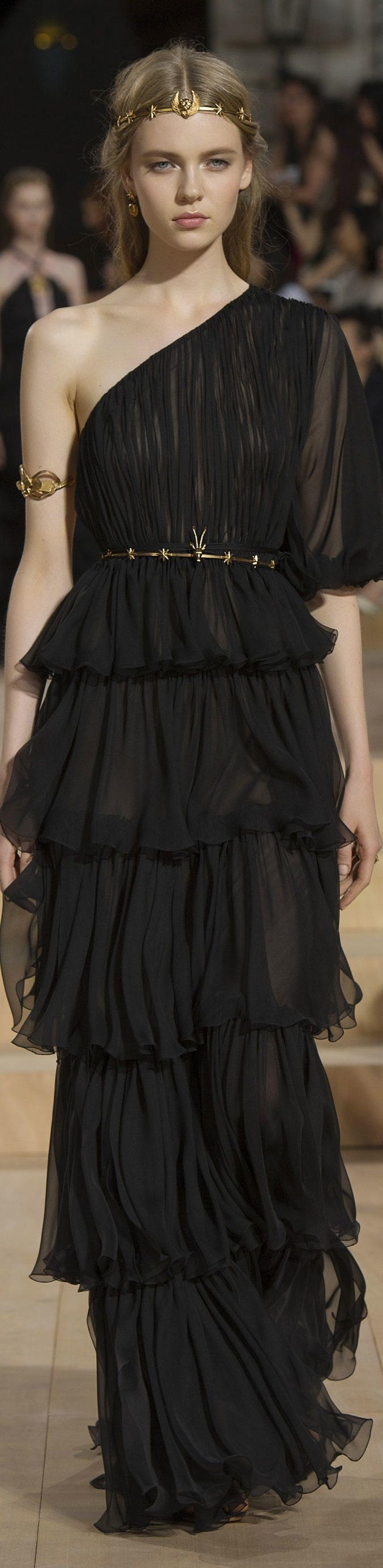 Valentino Fall/Winter 2015. What a stunning sheer black layered ruffled one-shoulder gown. I would totally wear this.