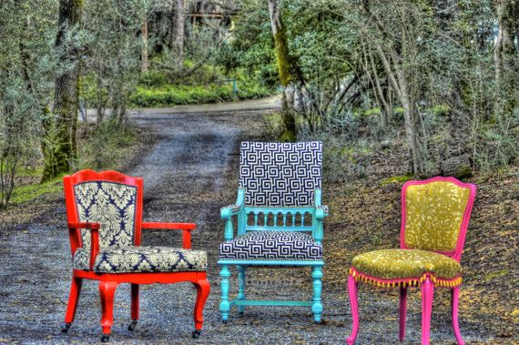 fun, colorful restored antique chairsDining Rooms, Funky Colors Decor, Funky Chairs, Antiques Chairs Redo, Eclectic With Colors Decor, Bright Painting, Painting Chairs, Eclectic Chairs, Bright Colors