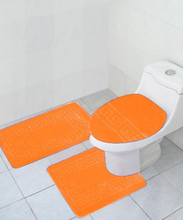 3 Piece Bathroom Set Orange  Rug Contour Mat Lid Cover Free Shipping New #WPM