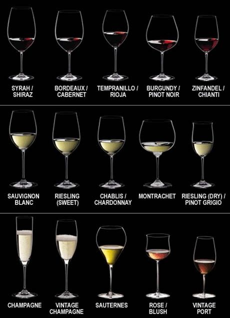 Wine glasses - a breakdown of which shape of glass you should use for different types of wine.