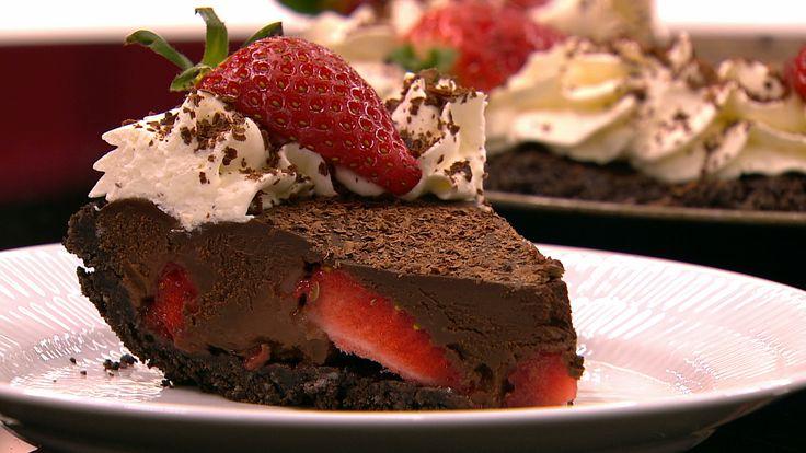 Jordbærtærte med chokoladeovertræk