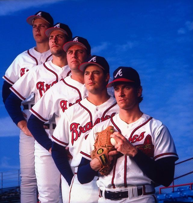 Braves pitchers Steve Avery,  John Smoltz, Pete Smith,  Greg Maddux, and Tom Glavine pose during spring training in 1993. (Ronald C. Modra/SI)  GALLERY: Pro Athletes in Little League | Dominant Pitching Seasons