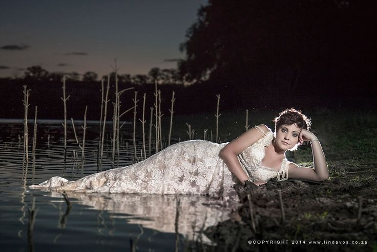 Beautiful River Trash the dress photos In vintage wedding dress South Africa.