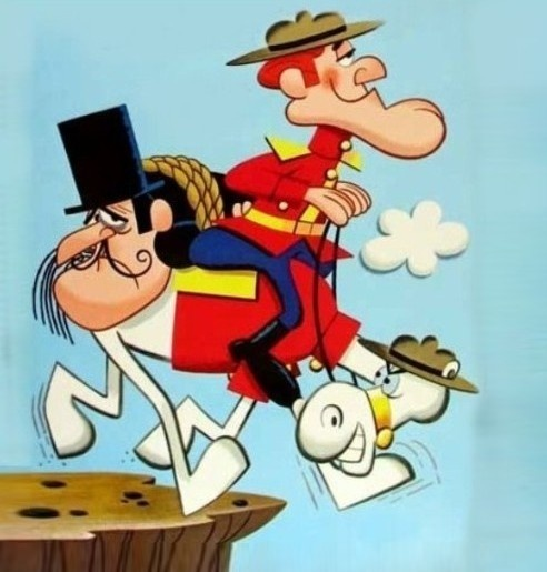 Dudley Do-Right (r) and Snidely Whiplash, The Rocky and Bullwinkle Show, 1961-1970