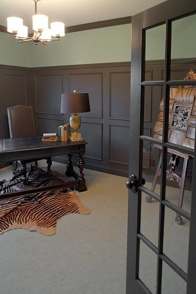 Chocolate brown wainscoting in office - Sherwin williams black fox exterior ...