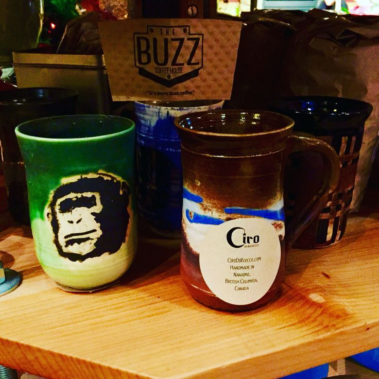 Selling my mugs at the Buzz coffee house in Nanaimo.