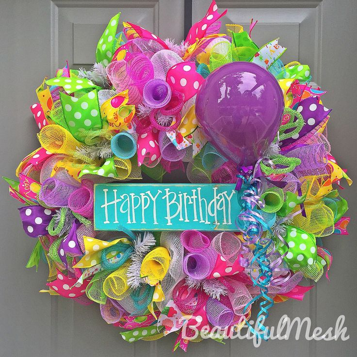 A personal favorite from my Etsy shop https://www.etsy.com/listing/449017112/happy-birthday-deco-mesh-wreath-with