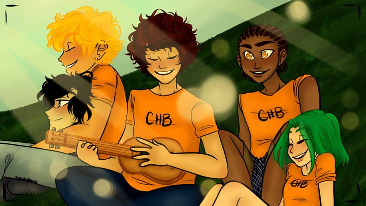 solbabydraws: Apollo cabin enjoying a summer afternoon with some tunes. (plus Nico, but don't worry, he isn't intruding, he has a doctor's note)