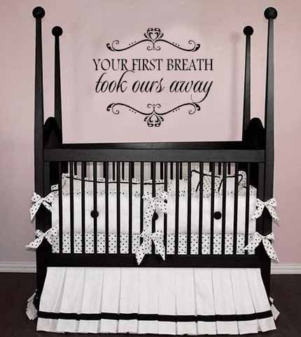 love this crib and the wall decal