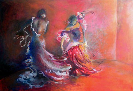 Sybille mathiaud artiste peintre peintures dessins flamenco pinterest - Peinture danseuse de flamenco ...