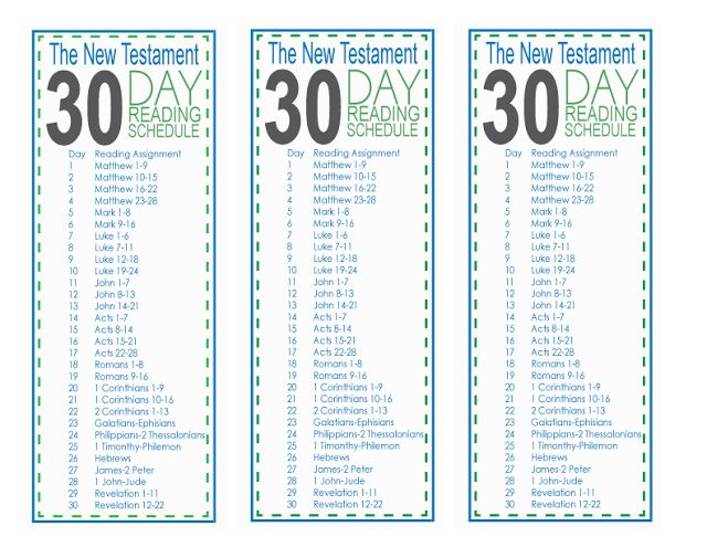 30 Day New Testament Reading Schedule: Free Prtinable
