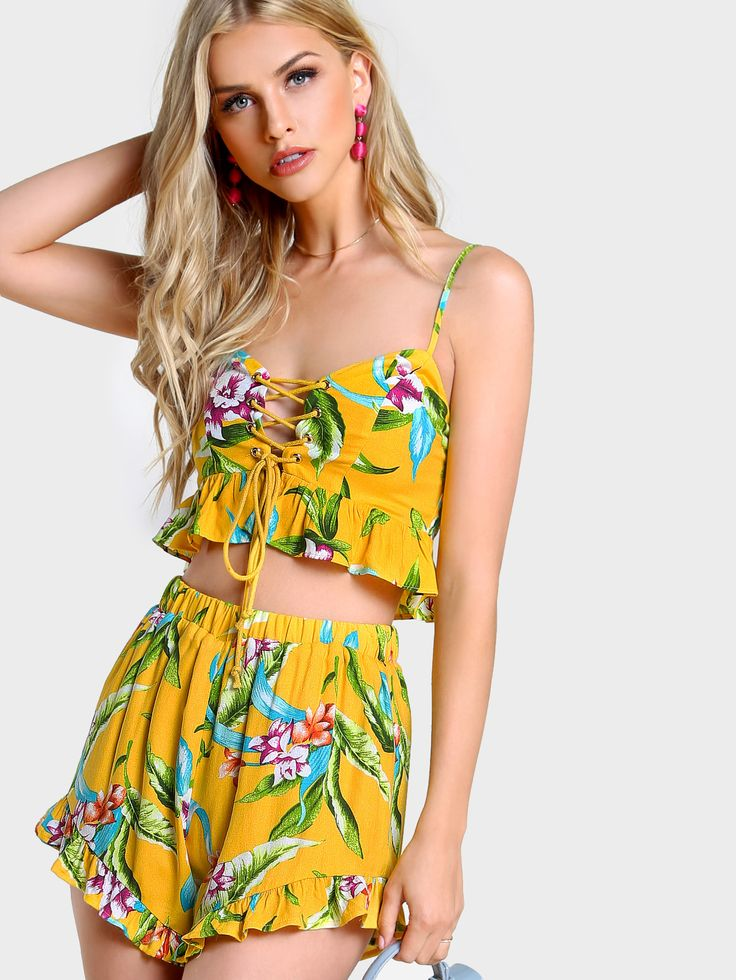 Flower Print Frilled Lace Up Bustier Top And Shorts Set -SheIn(Sheinside)