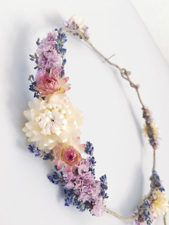 Dried flower crown // bohemian flower crown // by MeadowandMoss