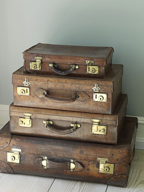 Stunning pile of vintage leather suitcases from Modern Country Style blog: Summer Home Tour In Demark