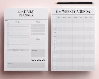 Daily Planner Pages US Letter Size 8.5 x 11 por CrossbowPrintables