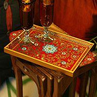 Beautiful tray from Peru thru Novica.com: Asunta Pelaez, Paintings Glasses, Glasses Trays, Beautiful Trays, Serving Trays, Glasses Cov Trays, Alive, Crimson Gardens, Flower