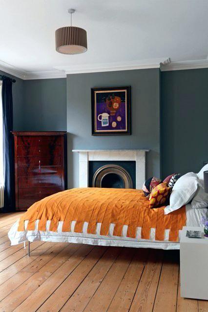 Orange und graue Schlafzimmer-Ideen Home sweet home Pinterest - Wohnzimmer Design Wandfarbe Grau
