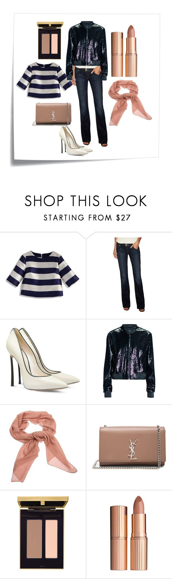 """simple"" by slavulienka on Polyvore featuring Post-It, Chicwish, Hudson Jeans, Casadei, Leka, Salvatore Ferragamo, Yves Saint Laurent and Charlotte Tilbury"