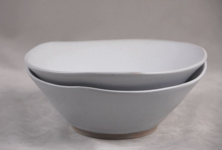 Bowls Set of 2 in White  Soup Salad Side Bowl  Contemporary Dinnerware by moonstarpottery on Etsy