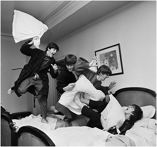 The Beatles in a pillow fight