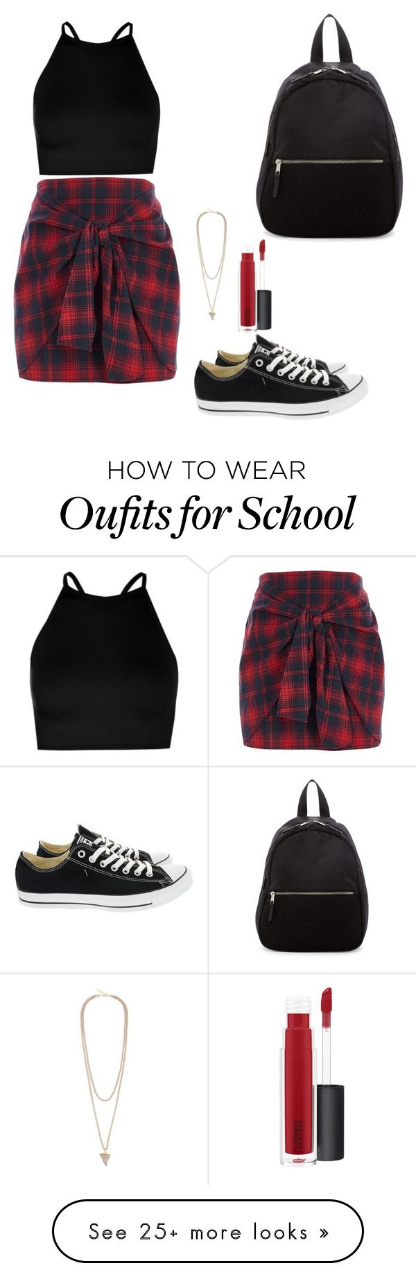 """""""Back To School ♡"""" by marlesby on Polyvore featuring River Island, Boohoo, Converse, Madden Girl, Givenchy and MAC Cosmetics"""