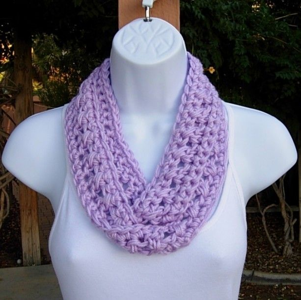Ladies Knitted Infinity Snood Scarf Purple Pink Green Soft Warm Neck Warmer