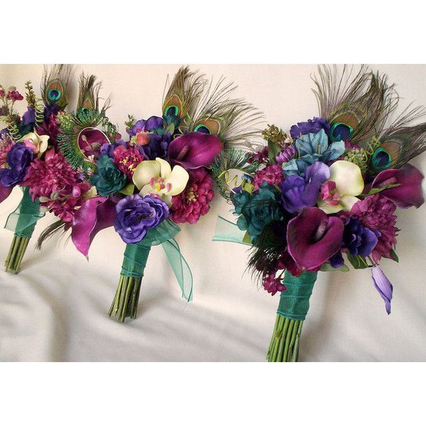 Teal Peacock feather Bridal Bouquet Brides maids artificial wedding flowers purple, Raspberry, pink bokay package custom for Terianna ($320) found on Polyvore