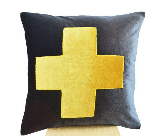 Grey Pillow- Grey Yellow Throw Pillow - Velvet cushions -Decorative cushion cover-Velvet Throw pillow -gift pillow 16X16 -Gray yellow pillow...
