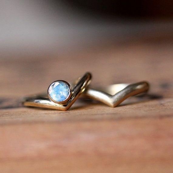 cool moonstone wedding ring set k yellow gold by metalicious on etsy - Moonstone Wedding Rings