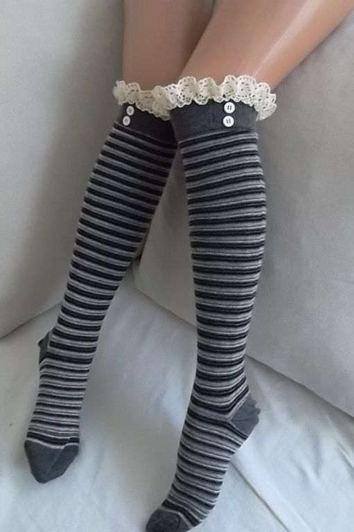 Grey Stripe Socks  Boot socks  leg warmers  by CarnavalBoutique,