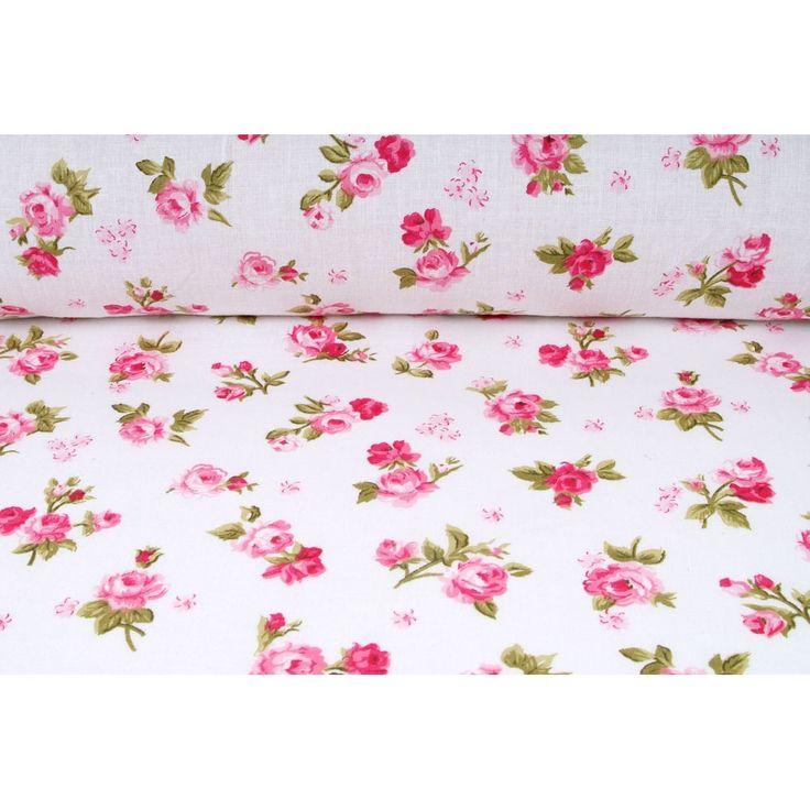 Plátno bavlnené, Anglicko, vintage potlač, motív malé ružové ružičky, metráž, látky