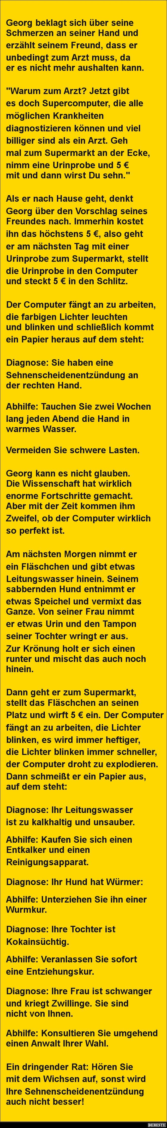 Georg beklagt sich über seine Schmerzen an seiner Hand | DEBESTE.de, Lustige Bilder, Sprüche, Witze und Videos