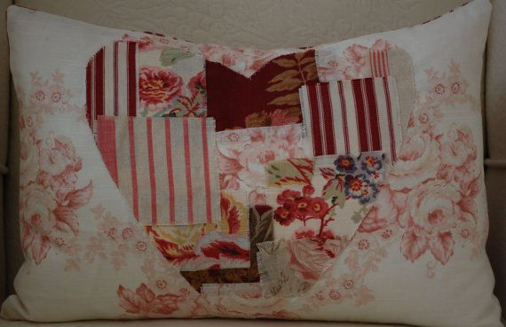 Laura Ashley 12x18 pillow with Heart Scraps by CottageShades, $38.00