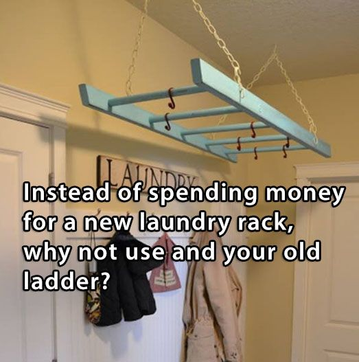 Use An Old Ladder As A Laundry Rack - #Diy, #Laundry