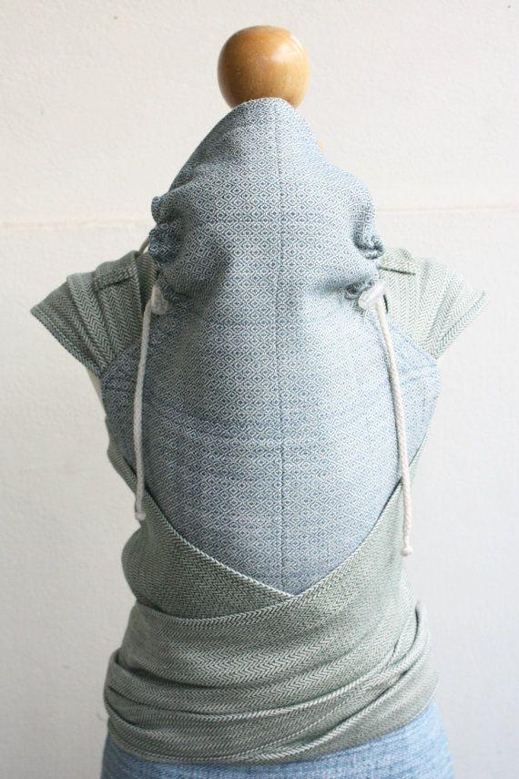 BaBy SaBye hand-woven wrap mei tai wich hood 30 linen WhiteClover/FoamySea