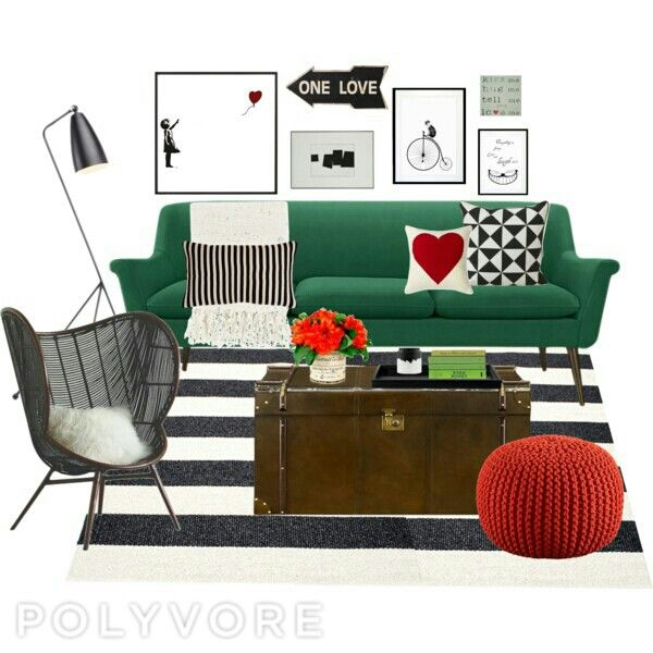 Living room green, black and white with touch of red color scheme