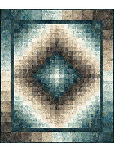 "Create a gradient illusion of motion!   This quilt is easily pieced together to reveal a finished project full of beauty and motion. Use 1 each of the Slate and Blue Planet Charm Packs, 1 each of the Slate and Blue Planet Jelly Rolls, and the Dark Blue Planet 1-yard cut (all below) to complete this quilt. Finished size is 50"" x 60""."