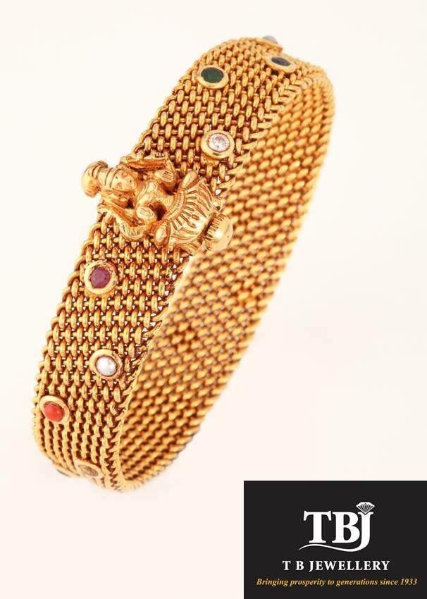 Traditional antique navarathna kada #tbjewellery #Goldenmoments #diamond #gold #antique #jewellery #bangle #bracelet #navarathna #traditional