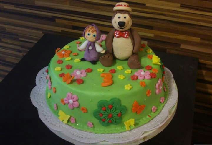 Masha and the bear fondant cake.