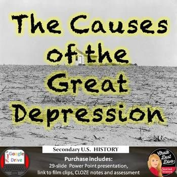 Students will be able to understand the causes of the Great Depression in this informative presentation. Topics include: 1.Republican laissez faire in domestic affairs 2. Stock speculation 3. Unregulated banking institutions 4. overproduction... click to see more.