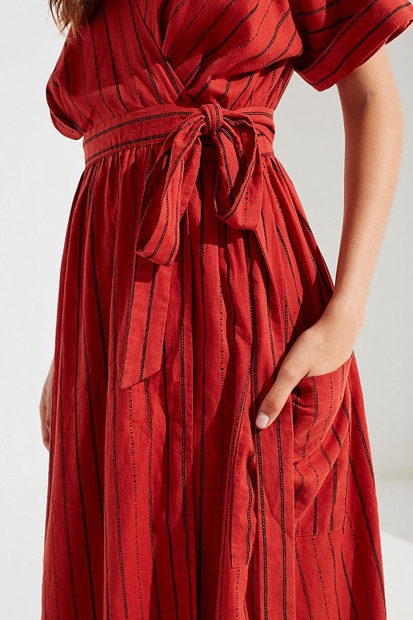 bc20237fd5 UO Gabrielle Linen Midi Wrap Dress in Rust red stripe