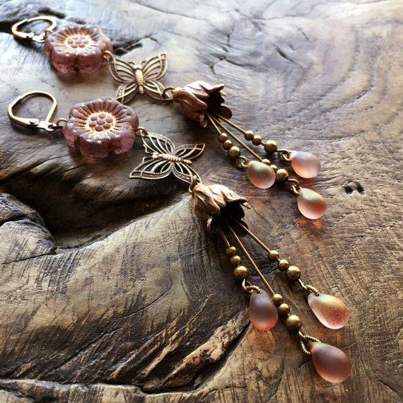 Sakura earrings pastel dusty pink & goldwash by lecoupdegrace