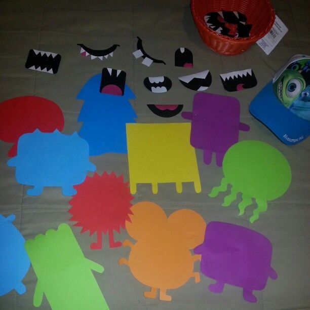 "monster bodies and mouths. I also made some eyes as single, double even triple for the students. I laminated it all and had the students make their own scarey or nice monster faces for the story ""Go Away Big Green Monster"""